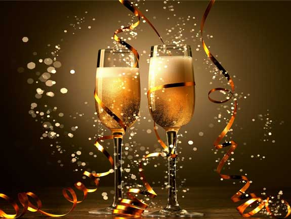 Happy New Year 2021 E-Cards, Champagne Glasses